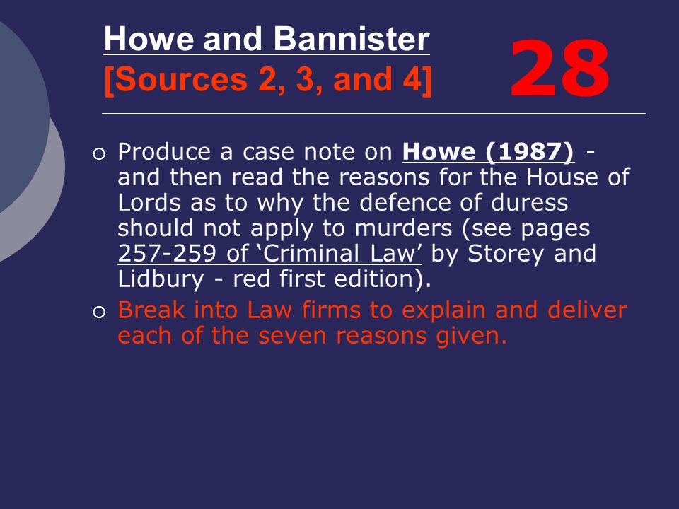Howe and Bannister [Sources 2, 3, and 4]